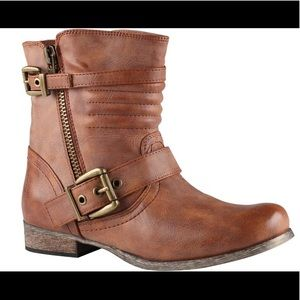 Aldo cognac brown Kauer moto leather boot